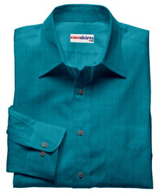 Aqua Linen Shirt With Neck Tie