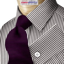 Black Deluxe Pinstripe Dress Shirt With Neck Tie