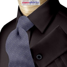 Black Egyptian Cotton Pinpoint Dress Shirt With Neck Tie