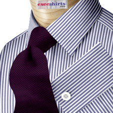 Blue Pinstripe Deluxe Dress Shirt With Neck Tie