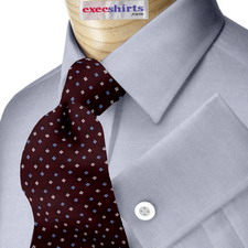 Blue Egyptian Cotton Pinpoint Dress Shirt With Neck Tie