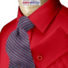 Bright Red Oxford Dress Shirts With Neck Tie