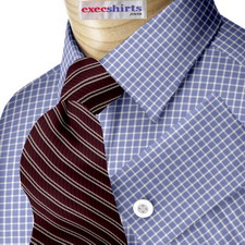 Custom Blue Checked Dress Shirt