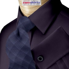 Dark Blue Broadcloth Dress Shirt With Neck Tie