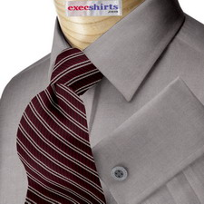 Dark Grey Oxford Dress Shirt With Neck Tie