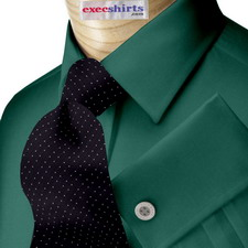 Dark Green Broadcloth Dress Shirt With Neck Tie