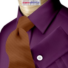 Dark Purple Broadcloth Dress Shirt With Neck Tie