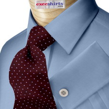 French Blue Broadcloth Dress Shirt With Neck Tie