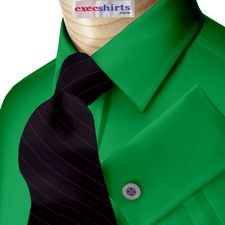 Kelly Green Broadcloth Dress Shirt With Neck Tie