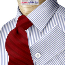 Lt. Blue Deluxe Pinstripe Dress Shirt With Neck Tie