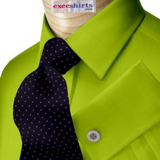 Lime Oxford Dress Shirts With Neck Tie