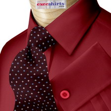 Maroon Broadcloth Dress Shirt With Neck Tie