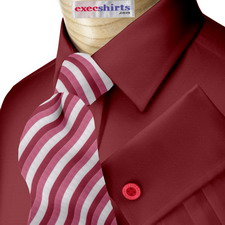 Maroon Oxford Dress Shirts With Neck Tie