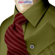 Olive Green Broadcloth Dress Shirt With Neck Tie