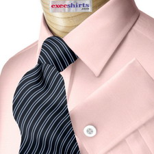 Pink Broadcloth Dress Shirt With Neck Tie