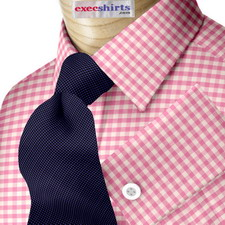 Custom Pink Checked Dress Shirt
