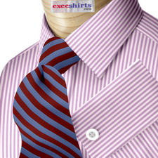 Purple Deluxe Pinstripe Dress Shirt With Neck Tie