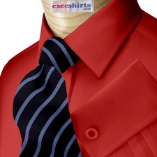 Dark Red Broadcloth Dress Shirt With Neck Tie