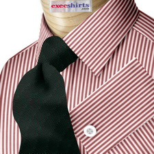 Red Deluxe Pinstripe Dress Shirt With Neck Tie