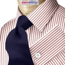 Custom Red Pinstripe Dress Shirt