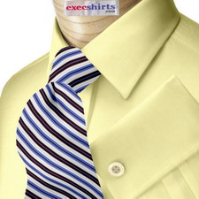 Yellow Egyptian Cotton Pinpoint Dress Shirt With Neck Tie