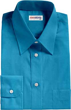 Aqua Broadcloth Dress Shirts