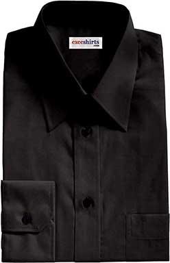 Custom Black Broadcloth Dress Shirt