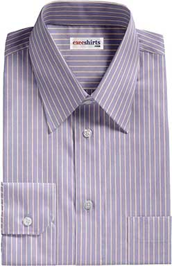 Blue/White Striped Dress Shirts With Neck Tie