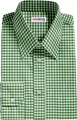 Dark Green Checked Dress Shirt