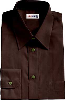 Men's Chocolate Brown Broadcloth Dress Shirts