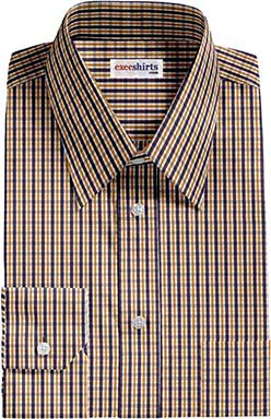 Black/Gold Checked Dress Shirt With Neck Tie