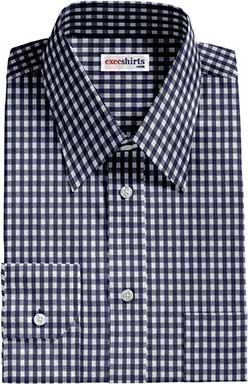 Checked Blue Dress Shirt With Neck Tie