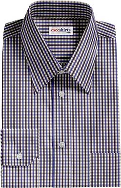 Blue Checked Dress Shirts 3 With Neck Tie