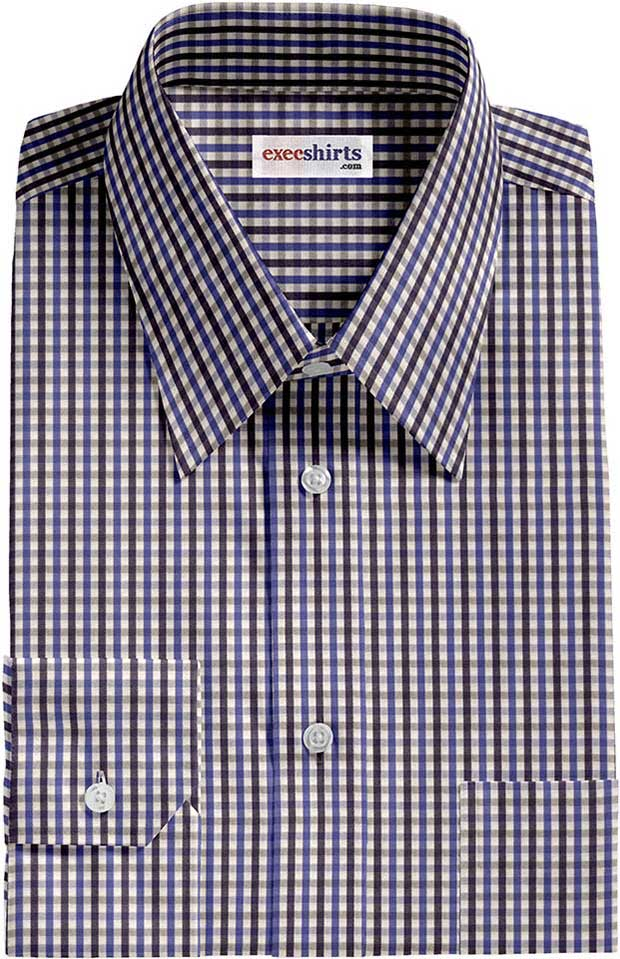 Blue Checked Dress Shirts 3