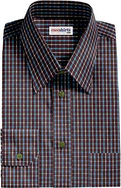 Brown/Aqua Checked Dress Shirt 2 With Neck Tie