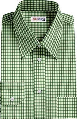 Green Checked Dress Shirt With Neck Tie