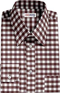 Brown Large Checked Dress Shirt