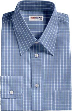 Checked Lt. Blue/White Dress Shirt With Neck Tie