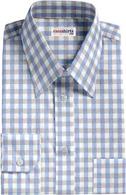 Gray/Lt. Blue Large Checked Dress Shirt With Neck Tie