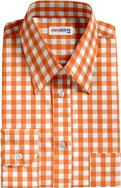 Orange Large Checked Dress Shirt With Neck Tie