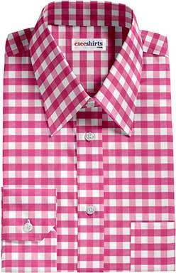 Pink Large Checked Dress Shirt With Neck Tie