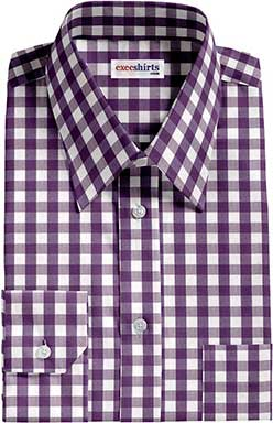Purple Large Checked Shirts With Neck Tie