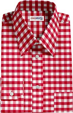 Red Large Checked Dress Shirt With Neck Tie