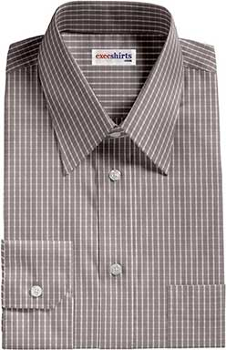 Light Gray Checked Dress Shirt With Neck Tie