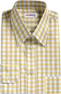 Tan/Yellow Large Checked Dress Shirt With Neck Tie