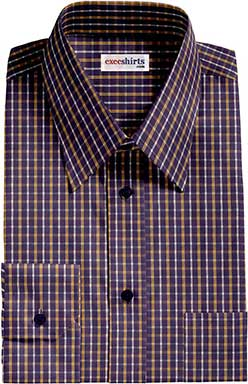 Navy/Yellow Checked Dress Shirt With Neck Tie