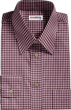 Pink/Brown Checked Dress Shirt With Neck Tie
