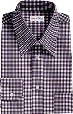 Purple/Black Checked Dress Shirt With Neck Tie