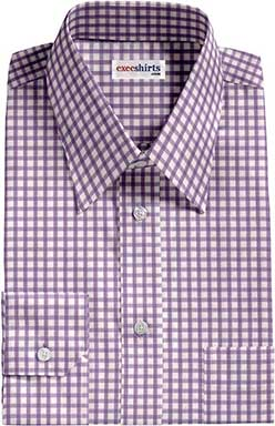 Checked Purple Dress Shirt 2 With Neck Tie