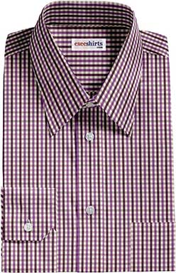 Purple Checked Dress Shirts With Neck Tie